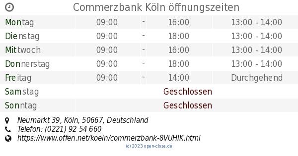 Commerzbank Köln öffnungszeiten
