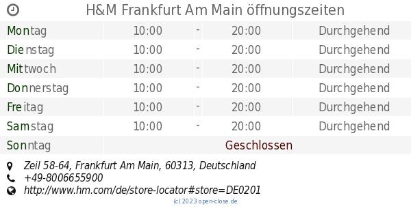 Hm Frankfurt Am Main öffnungszeiten Zeil 58 64