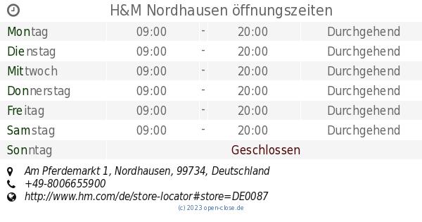 Hm Nordhausen öffnungszeiten Am Pferdemarkt 1