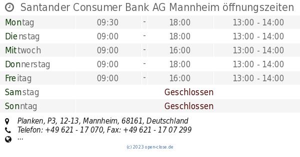 Santander Consumer Bank AG Mannheim öffnungszeiten, Planken, P3, 12-13