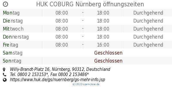 Huk Coburg Nurnberg Offnungszeiten Willy Brandt Platz 16
