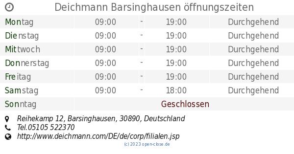 Deichmann Barsinghausen, Reihekamp 12 Öffnungszeiten