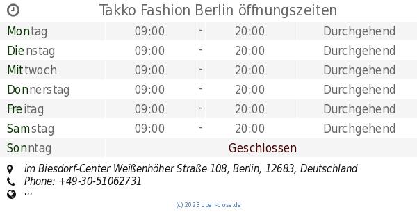 Takko Fashion Berlin öffnungszeiten Im Biesdorf Center Weißenhöher