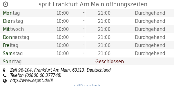 Esprit Frankfurt Am Main öffnungszeiten, Zeil 98-104