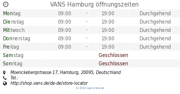 100% authentic 8dc47 6712c VANS Hamburg öffnungszeiten, Moenckebergstrasse 17