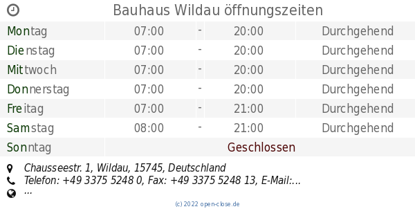 Bauhaus Wildau bauhaus wildau öffnungszeiten chausseestr 1