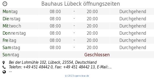 Bauhaus Lubeck Offnungszeiten Bei Der Lohmuhle 102