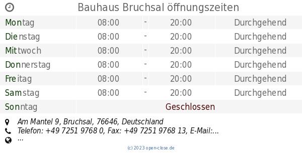Bauhaus Bruchsal Offnungszeiten Am Mantel 9