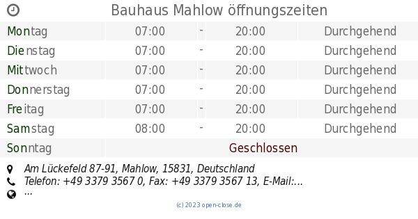 Bauhaus Mahlow bauhaus mahlow öffnungszeiten am lückefeld 87 91