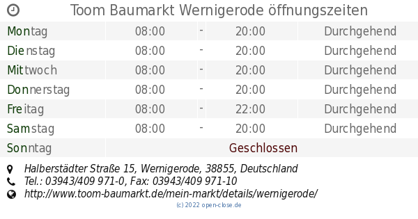 Toom Baumarkt Wernigerode öffnungszeiten Halberstädter Straße 15