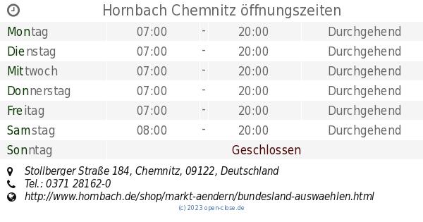 Hornbach Chemnitz hornbach chemnitz öffnungszeiten stollberger straße 184