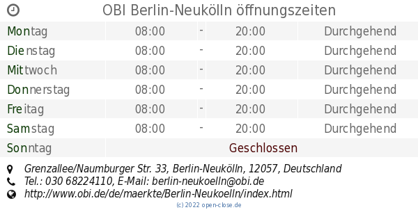 Obi verkaufsoffener sonntag berlin