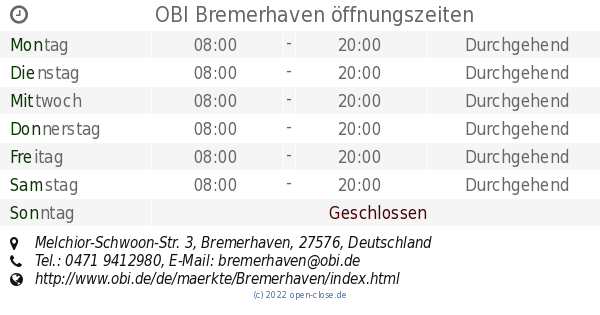 Tedox Bremerhaven öffnungszeiten : obi bremerhaven ffnungszeiten melchior schwoon str 3 ~ Watch28wear.com Haus und Dekorationen