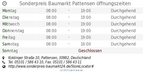 sonderpreis baumarkt pattensen öffnungszeiten koldinger straße 10