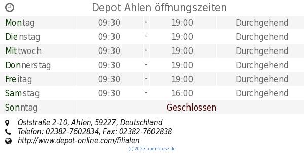Depot Ahlen öffnungszeiten Oststraße 2 10