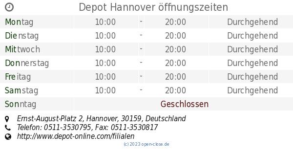Depot Hannover öffnungszeiten Ernst August Platz 2