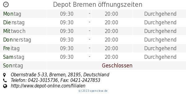 Depot Bremen öffnungszeiten Obernstraße 5 33