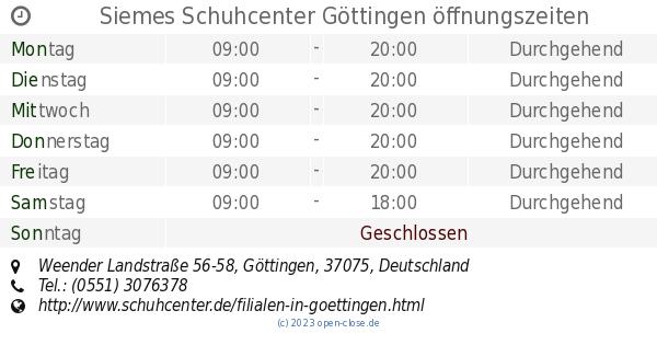 Siemes Schuhcenter Göttingen öffnungszeiten, Weender