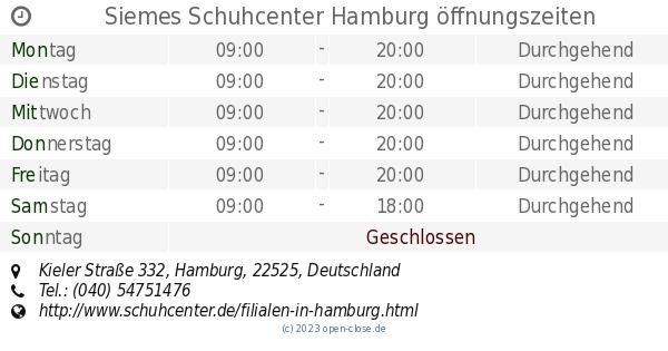 Siemes Schuhcenter Hamburg öffnungszeiten, Kieler Straße 332