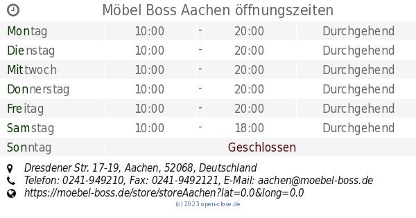 Möbel Boss Aachen öffnungszeiten Dresdener Str 17 19