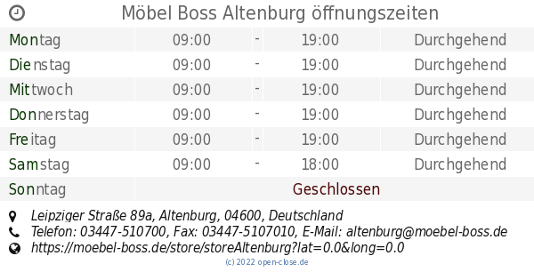 Möbel Boss Altenburg öffnungszeiten Leipziger Straße 89a