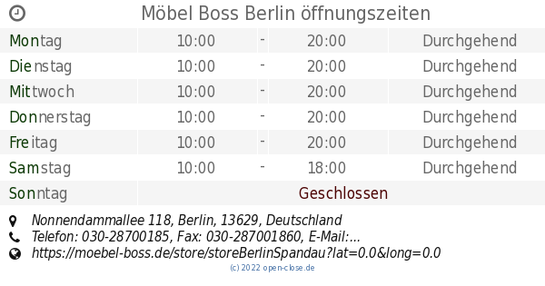 Möbel Boss Berlin öffnungszeiten Nonnendammallee 118