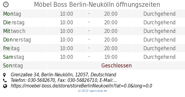 Möbel Boss Berlin Neukölln öffnungszeiten Grenzallee 34