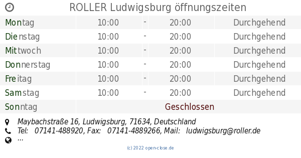 Roller Ludwigsburg öffnungszeiten Maybachstraße 16