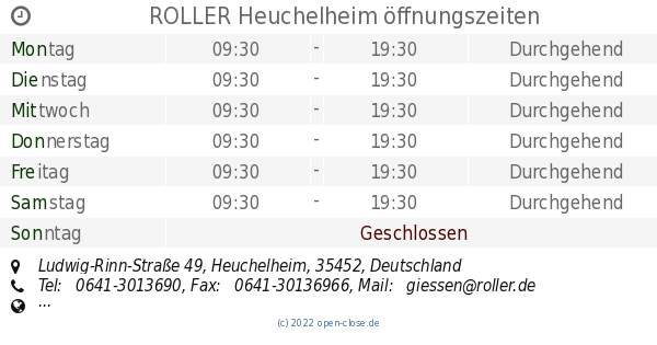 Roller Heuchelheim öffnungszeiten Ludwig Rinn Straße 49