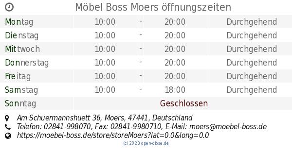 Möbel Boss Moers öffnungszeiten Am Schuermannshuett 36