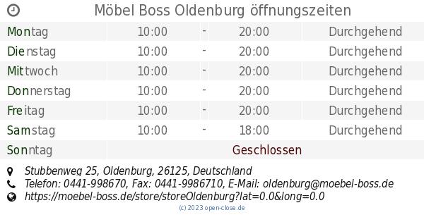 Möbel Boss Oldenburg öffnungszeiten Stubbenweg 25