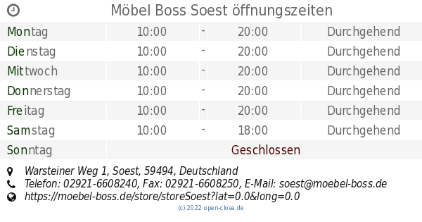 Möbel Boss Soest öffnungszeiten Warsteiner Weg 1