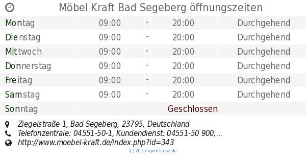 Möbel Kraft Bad Segeberg öffnungszeiten Ziegelstraße 1