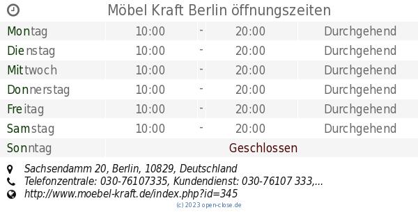 Möbel Kraft Berlin öffnungszeiten Sachsendamm 20