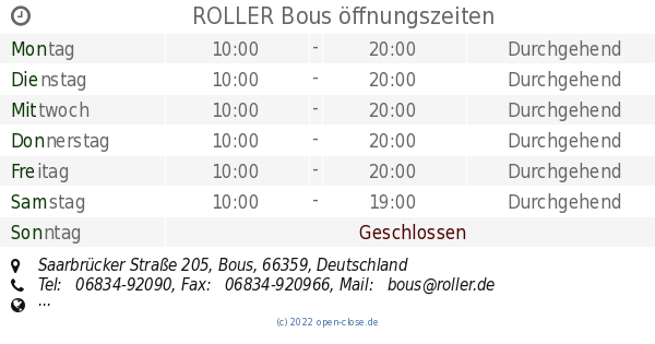 Roller Bous öffnungszeiten Saarbrücker Straße 205