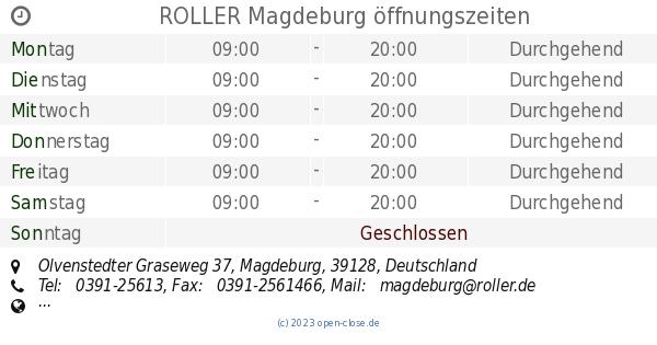 Roller Magdeburg öffnungszeiten Olvenstedter Graseweg 37