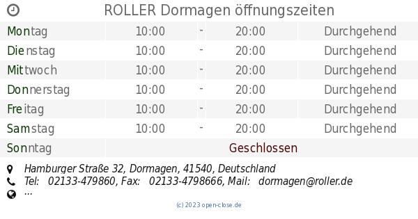 Roller Dormagen öffnungszeiten Hamburger Straße 32