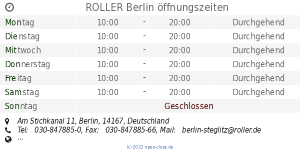 Roller Berlin öffnungszeiten Am Stichkanal 11