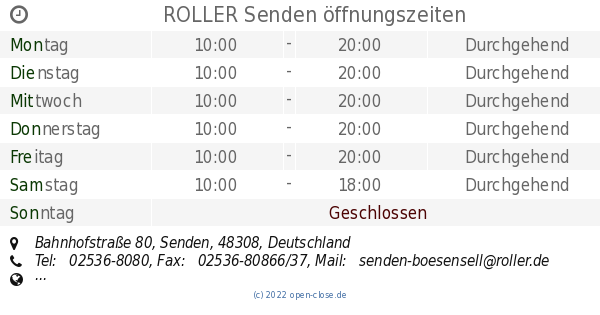 Roller Senden öffnungszeiten Bahnhofstraße 80
