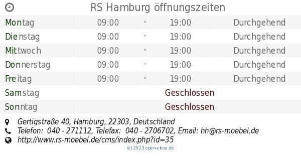 Rs Hamburg öffnungszeiten Gertigstraße 40