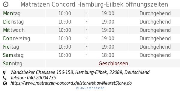 Matratzen Concord Hamburg-Eilbek öffnungszeiten ...