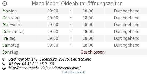 Maco Mobel Oldenburg öffnungszeiten Stedinger Str 141