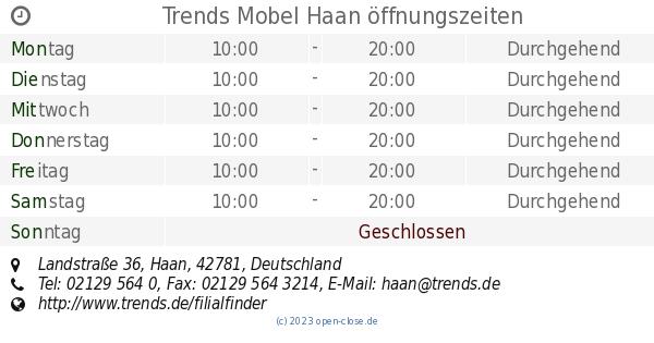 Trends Mobel Haan öffnungszeiten Landstraße 36