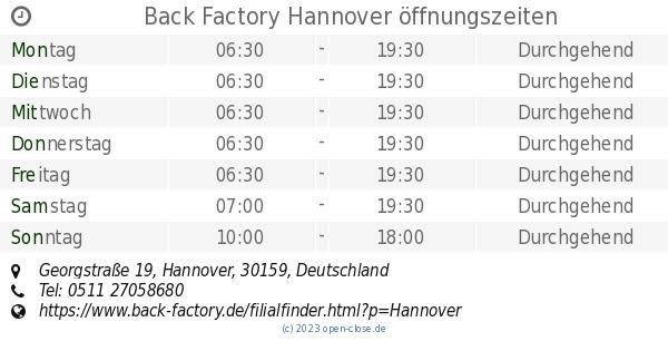 Back Factory Hannover öffnungszeiten Georgstraße 19