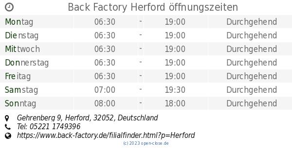Back Factory Herford back factory herford öffnungszeiten gehrenberg 9