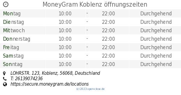 MoneyGram Koblenz öffnungszeiten, LOHRSTR. 123